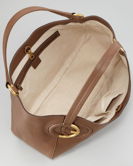 Twill Leather Large Shoulder Bag, Medium Brown