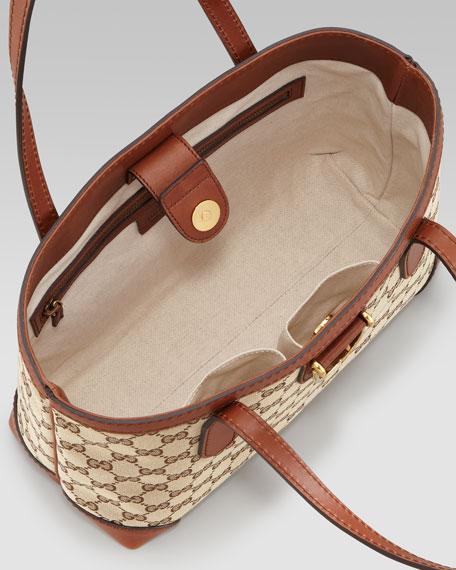 East-West Small Open Tote Bag, Beige/Cognac