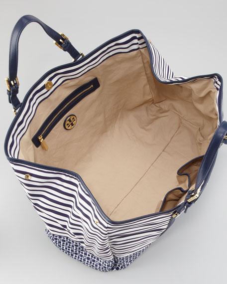 Ella Stacked Logo Nylon Tote Bag, Black