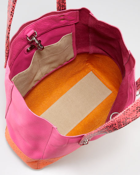 Suze Medium Leather Tote Bag, Pink/Orange