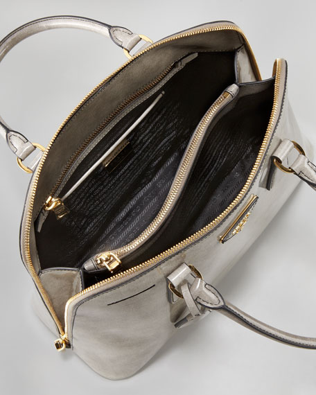 Spazzolato Promenade Lux Handbag, Fume Gray Degrade