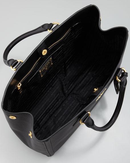 Vitello Daino East-West Tote Bag, Nero