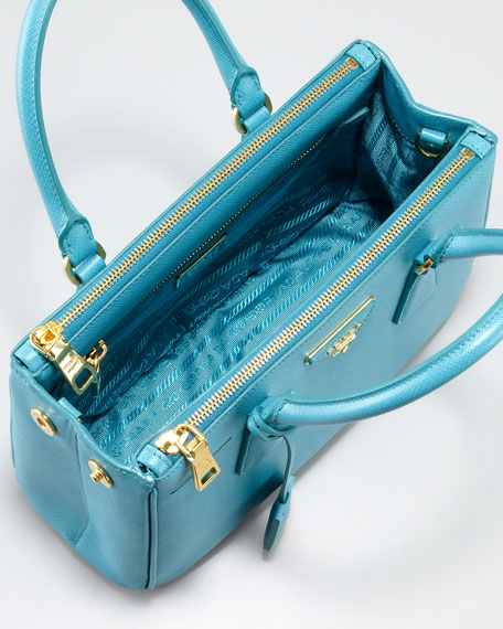 Saffiano Lux Tote Bag, Turquoise