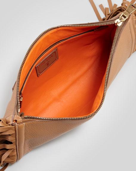 Cervo Fringe Clutch Bag, Dark Camel
