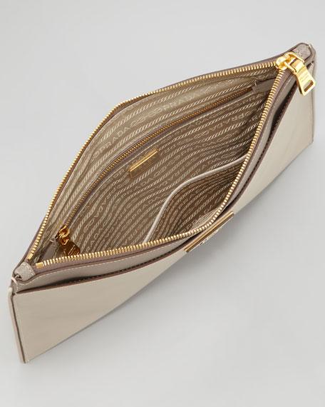 Saffiano Lux Bicolor Zip Clutch Bag, Gray