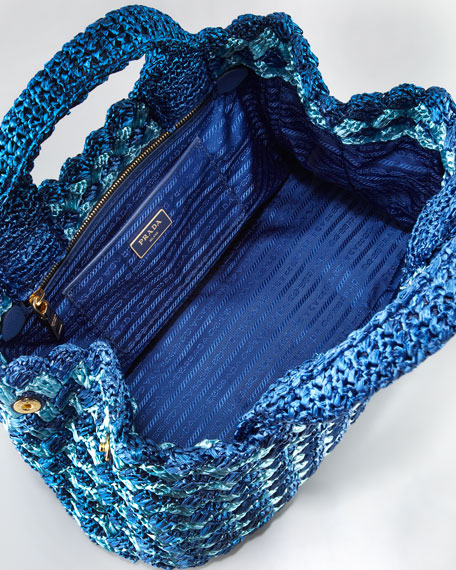 Bicolor Crocheted Raffia Medium Tote Bag