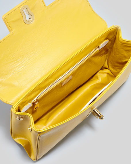 Saffiano Vernice Chain Shoulder Bag, Soleil/White