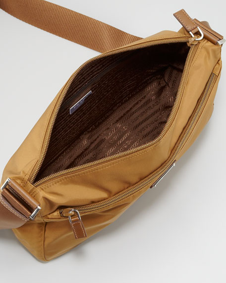 Nylon Hobo Bag, Tobacco Medium Brown