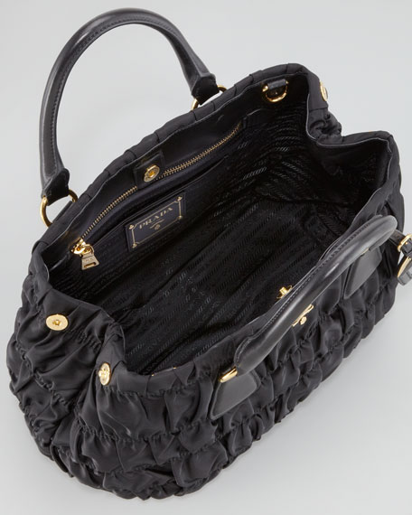 Nylon Gaufre Shoulder Bag, Nero Black