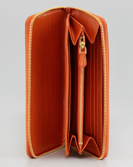 Extra-Large Saffiano Continental Zip Wallet, Papaya