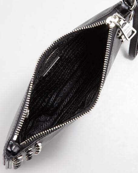 Saffiano Vernice Wristlet Bag, Black