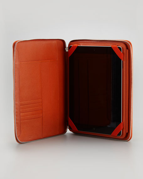 Saffiano Leather iPad Case/Stand, Papaya