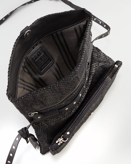 Coleen Snake-Print Crossbody Clutch Bag, Black