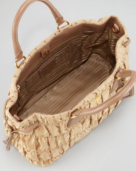 Nylon Gaufre Tote Bag, Light Camel