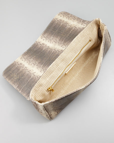 Caroline Metallic Snake-Embossed Clutch Bag