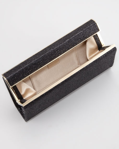 Cayla Metallic Flap Clutch Bag, Black