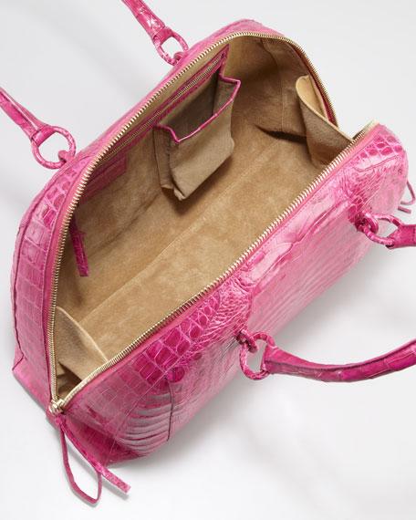 Crocodile Medium Bowler Bag, Fuchsia