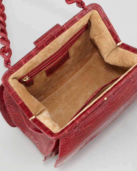 Framed Small Chain Lady Bag, Burgundy
