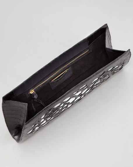Laser-Floral Slicer Crocodile Clutch Bag