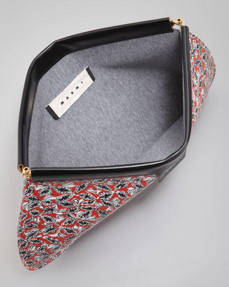 Leaves/Grid Flat Clutch Bag