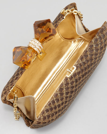 Kayla Concave Minaudiere, Gold