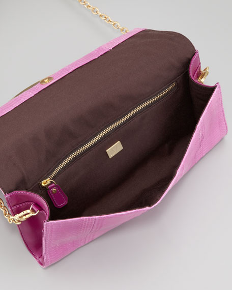 Carolina Lips Snakeskin Clutch Bag, Gardenia
