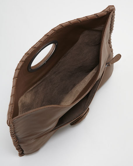 Full-Flap Turnlock Clutch, Dark Brown