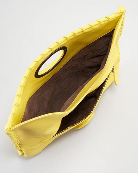 Full-Flap Turnlock Clutch Bag, Light Yellow