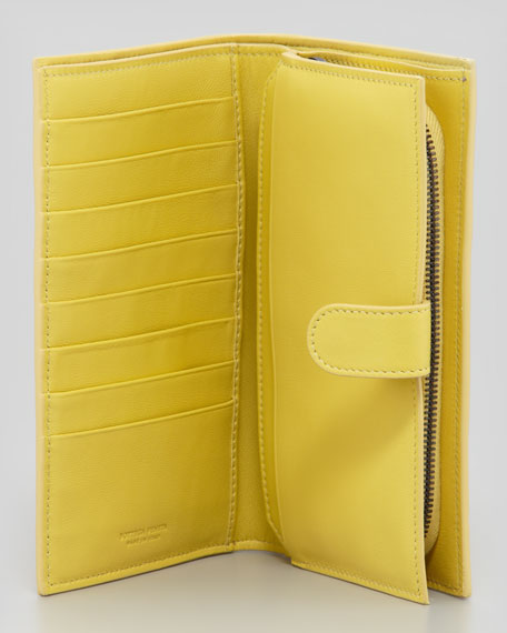 Woven Leather Continental Wallet, Light Yellow