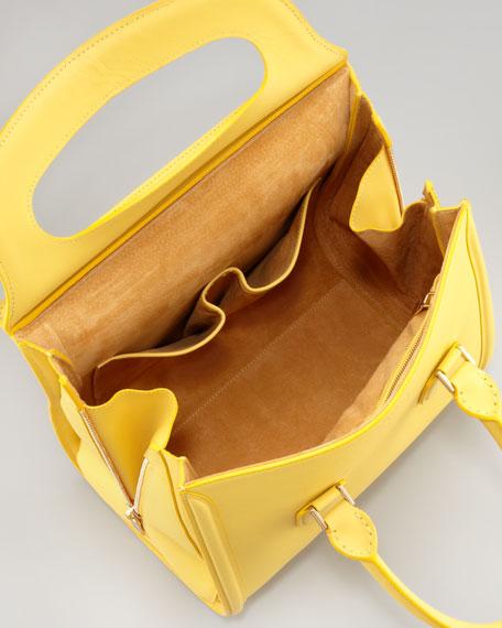 Heroine Medium Leather Satchel Bag, Yellow