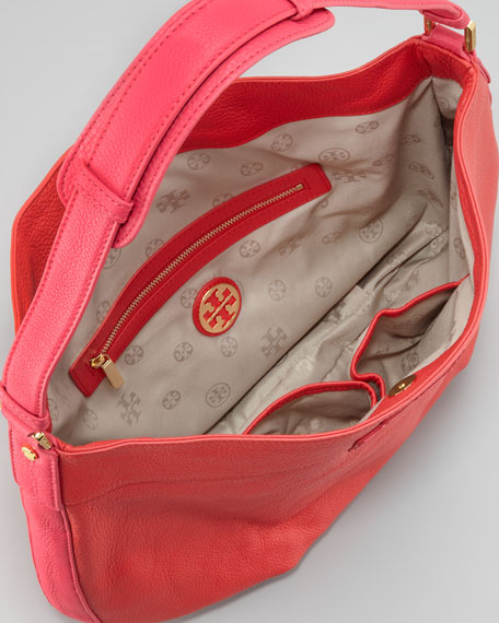 Two-Tone Stacked Logo Hobo Bag, Poppy Red