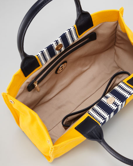 Mini Ella Striped Tote Bag, Yellow