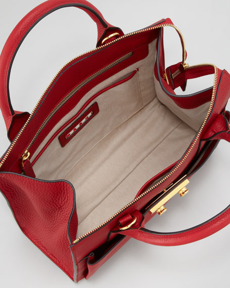 Medium Pebbled Leather Attache Case, Burgundy
