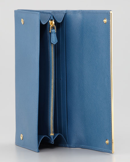 Full Flap Continental Wallet & Organizer, Bright Blue