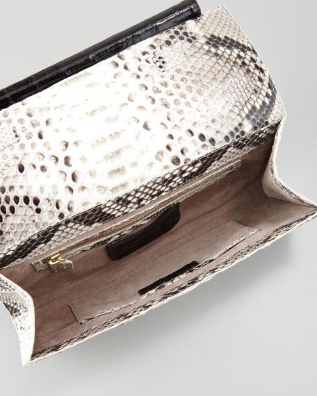 Python Front-Flap Crocodile Bar Clutch Bag, Natural