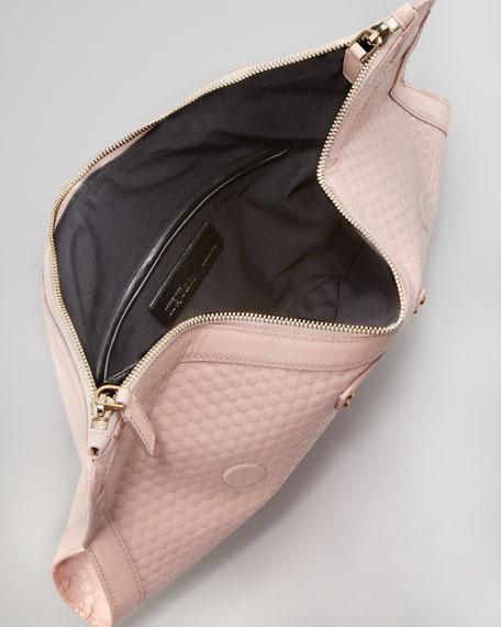 De-Manta Honeycomb Patent Clutch Bag, Nude
