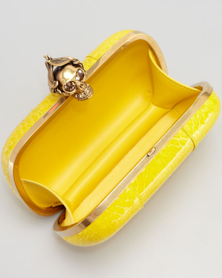 Bee Punk Skull Snake Clutch Bag, Yellow