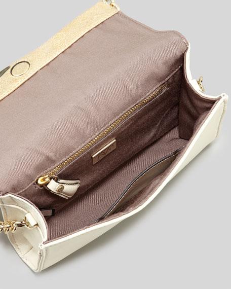 Lips Mini Metallic Clutch Bag, Light Gold