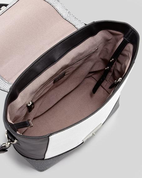 440 Lizard-Stamped Satchel Bag, Black/White