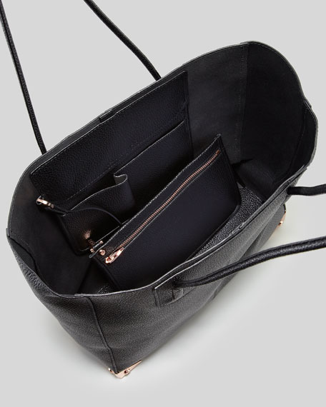Prisma Pebbled Leather Tote Bag, Black