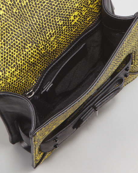 Lizard Embossed Folio Crossbody Bag, Yellow