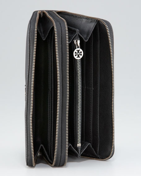 Robinson Double-Zip Continental Wallet, Black