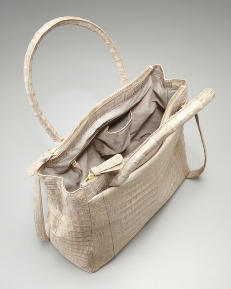 Double Zip Work Tote, Taupe