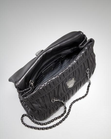 Medium Flap Ruched Leather Shoulder Bag