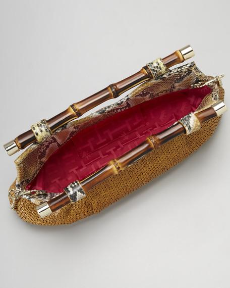 Summer Bamboo Snake-Print Clutch Bag, Tobacco