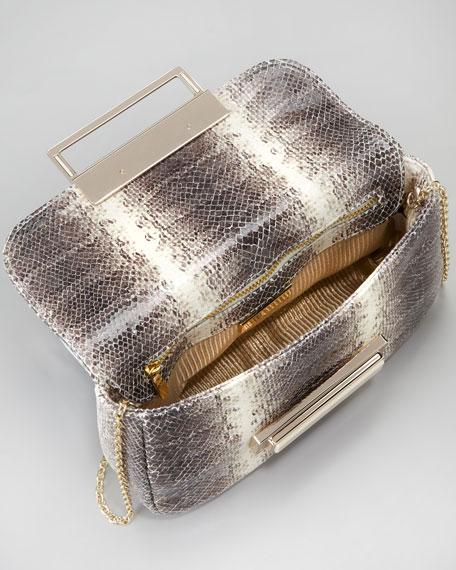 Iris Snake-Embossed Clutch Bag