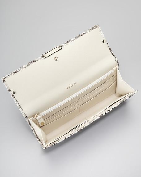 Reese Snakeskin Wallet Clutch Bag, Natural