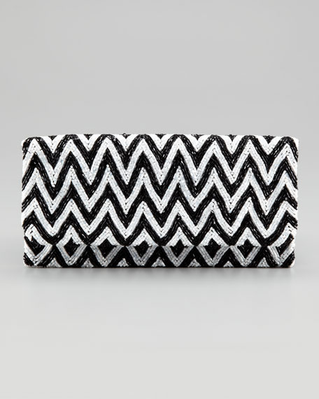 Fold-Over Zigzag Silk Clutch Bag