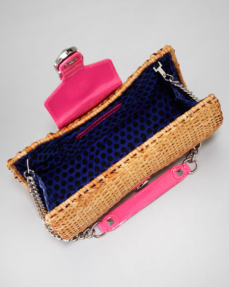 Fairy Tale Raffia-Leather Clutch Bag, Pink