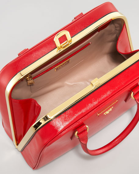 Double-Handle Center-Frame Bag, Red